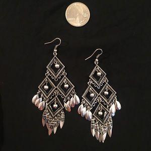 Lucky Brand silver and black boho earrings